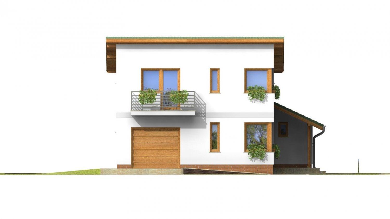 Pohľad 1. - Projekt moderného domu s garážou.