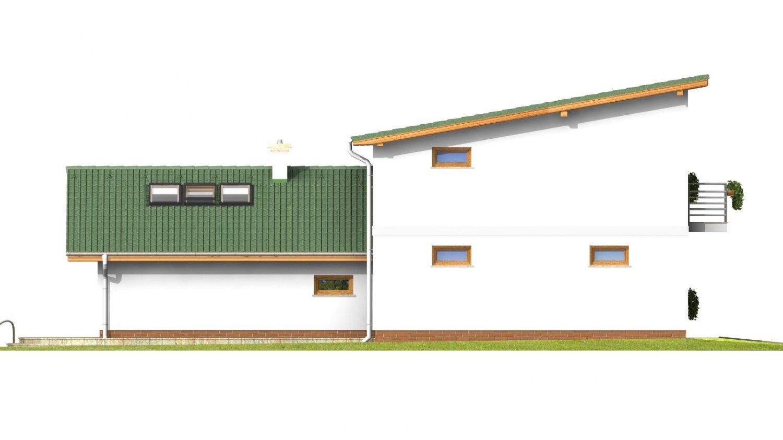 Pohľad 2. - Projekt moderného domu s garážou.