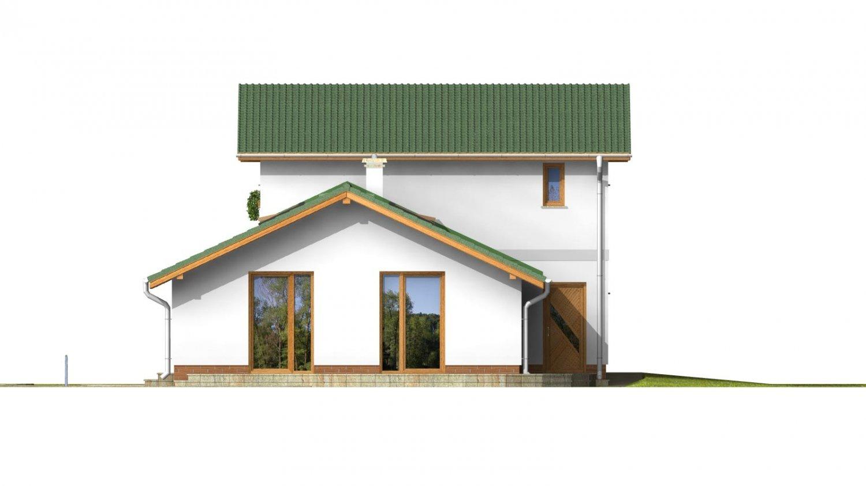 Pohľad 3. - Projekt moderného domu s garážou.