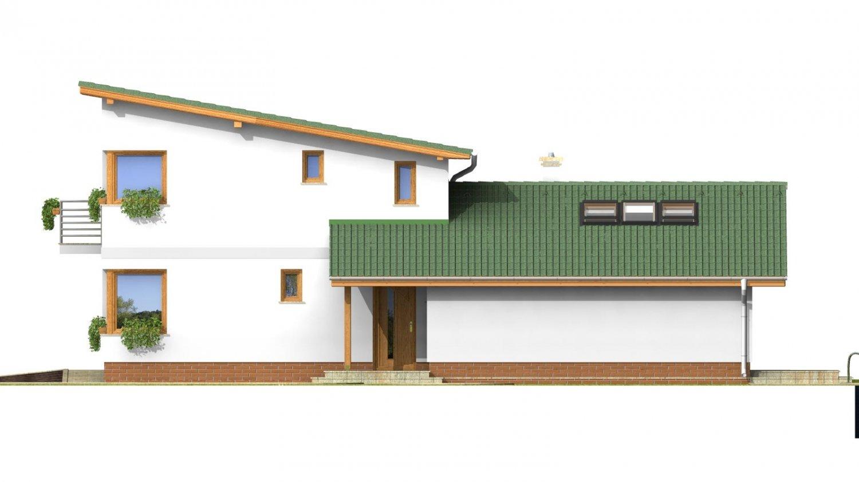 Pohľad 4. - Projekt moderného domu s garážou.