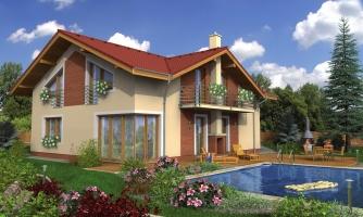 Poschodový dom s garážou a sedlovou strechou.