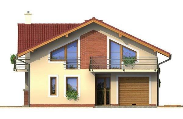 Pohľad 1. - Poschodový dom s garážou a sedlovou strechou.