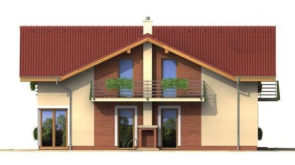Pohľad 2. - Poschodový dom s garážou a sedlovou strechou.