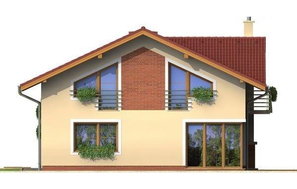Pohľad 3. - Poschodový dom s garážou a sedlovou strechou.