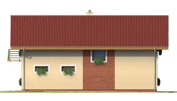 Pohľad 4. - Poschodový dom s garážou a sedlovou strechou.