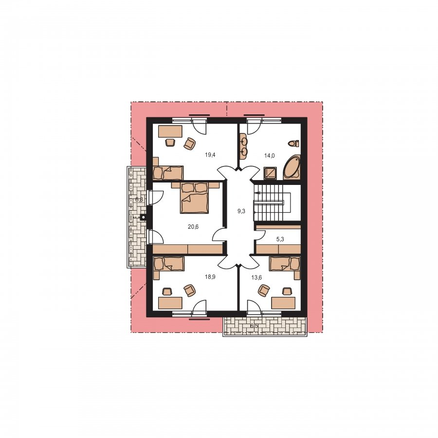 Pôdorys Poschodia - Poschodový dom s garážou a sedlovou strechou