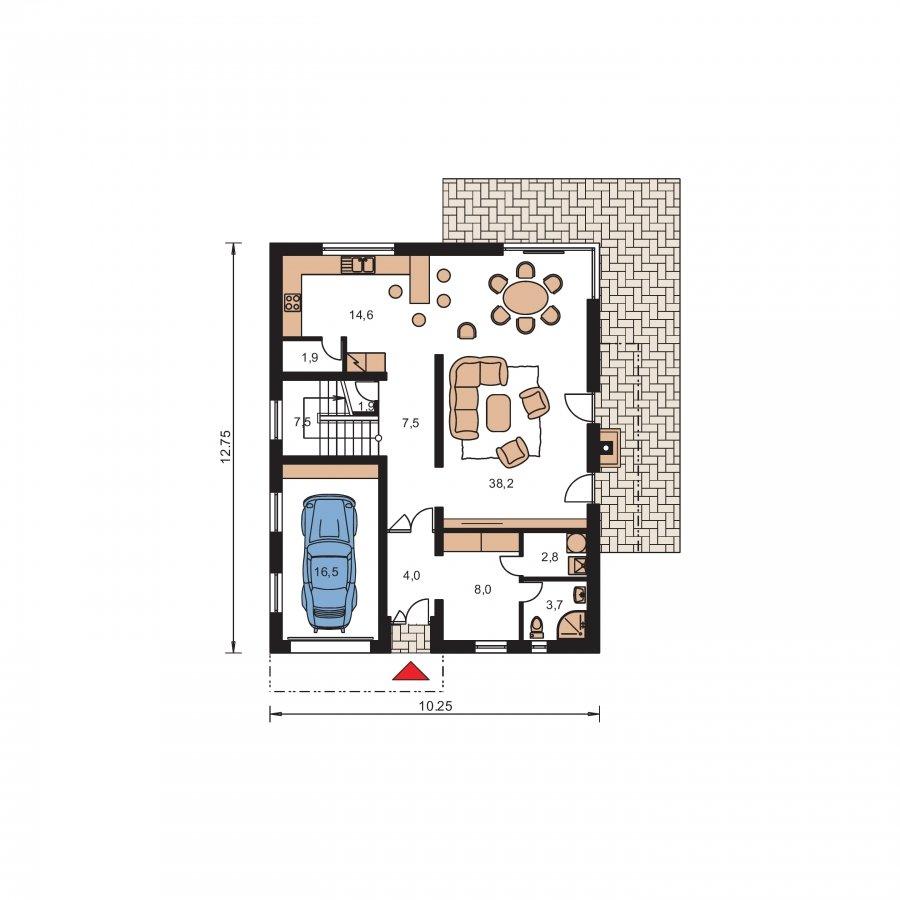Pôdorys Prízemia - Poschodový dom s garážou a sedlovou strechou