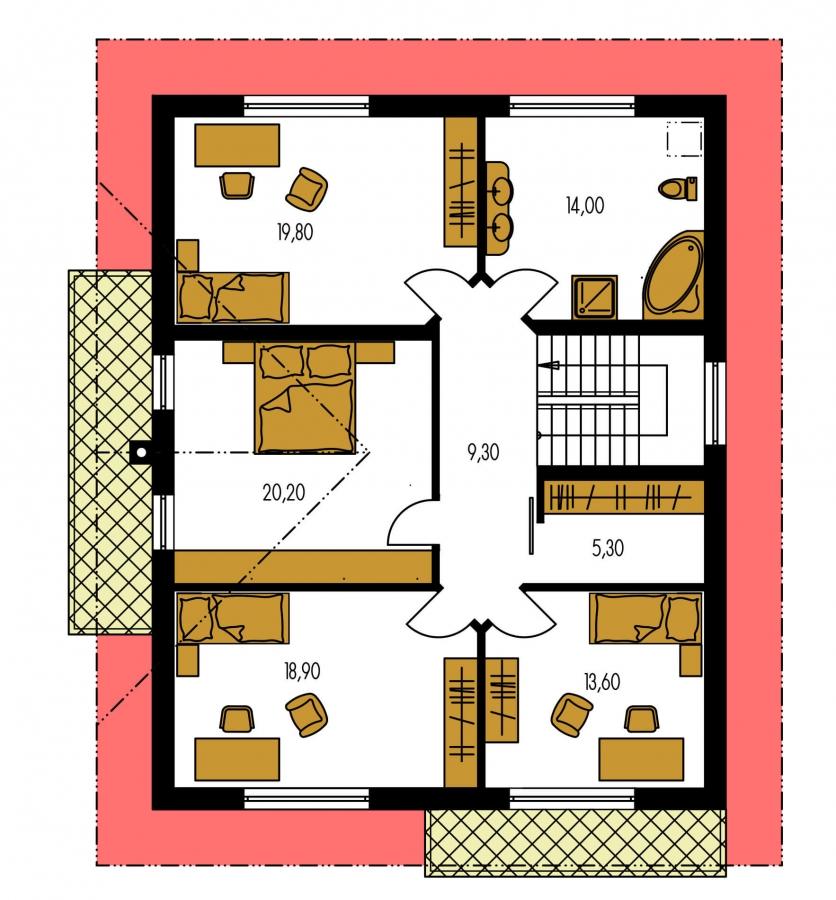 Pôdorys Poschodia - Poschodový dom s garážou a sedlovou strechou.
