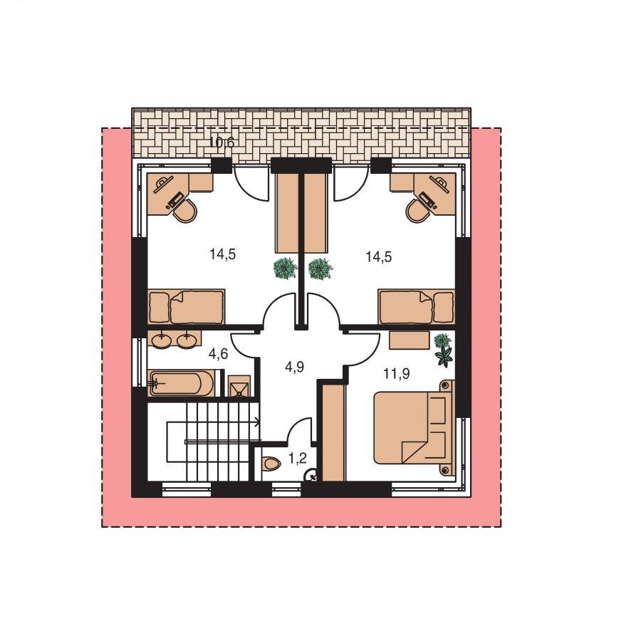 Pôdorys Poschodia - Zaujímavý projekt moderného rodinného domu