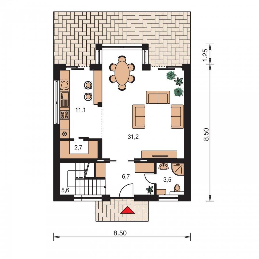 Pôdorys Prízemia - Zaujímavý projekt moderného rodinného domu