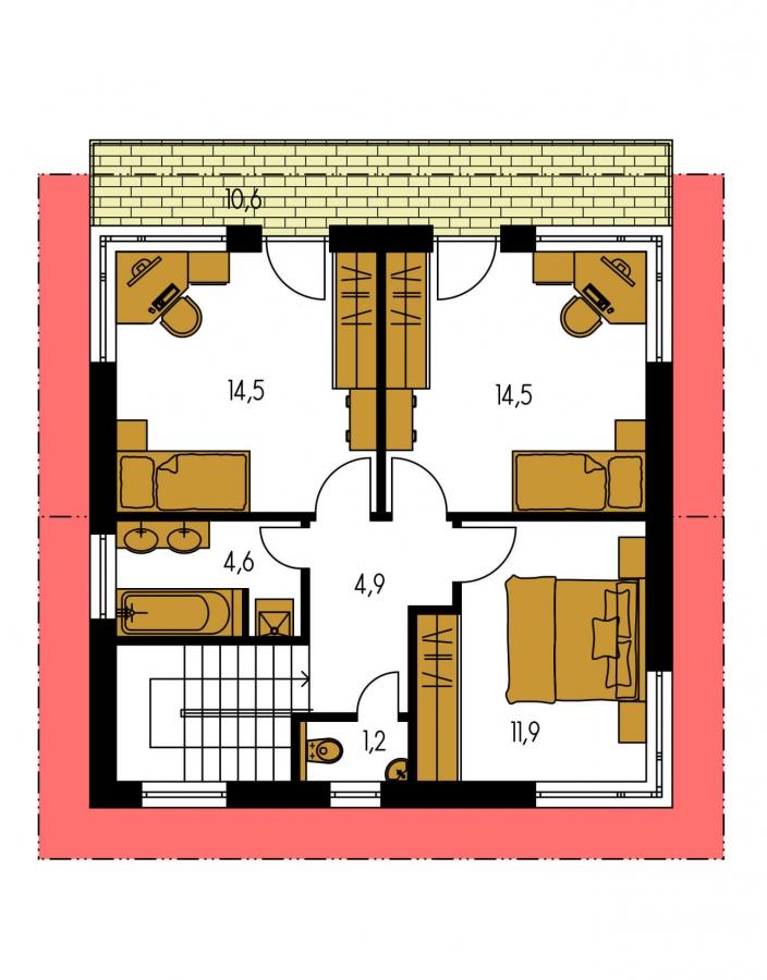 Pôdorys Poschodia - Zaujímavý projekt moderného rodinného domu.