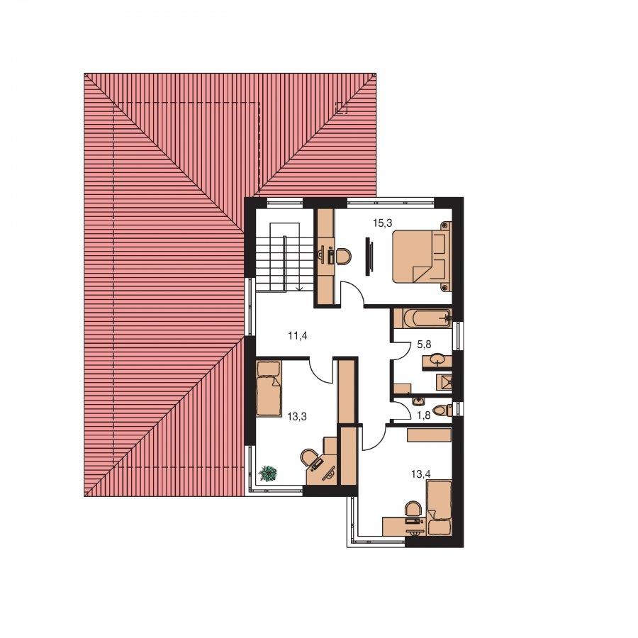 Pôdorys Poschodia - Moderný dom s pluchuu aj sedlovou strechou