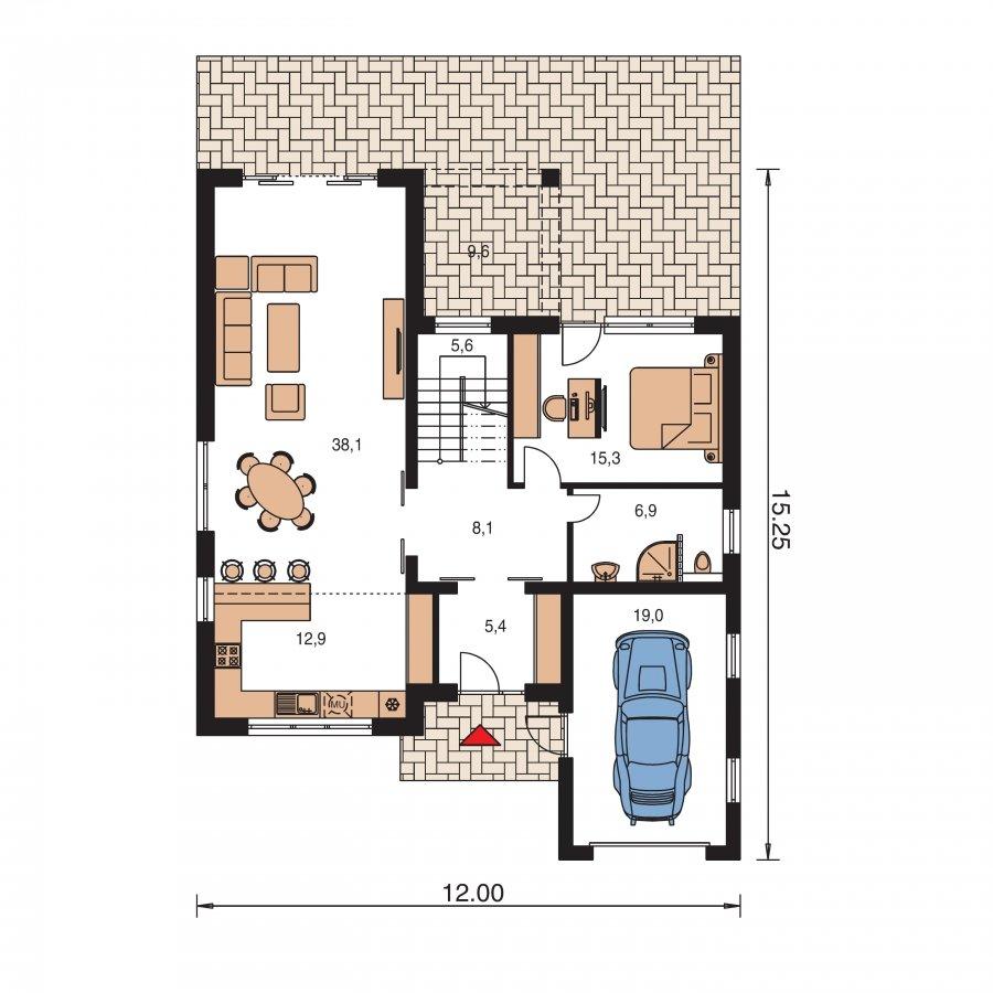Pôdorys Prízemia - Moderný dom s pluchuu aj sedlovou strechou