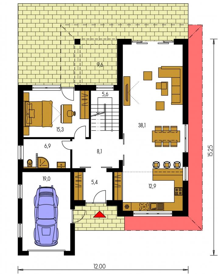 Pôdorys Prízemia - Moderný poschodový dom s garážou a izbou na prízemí.