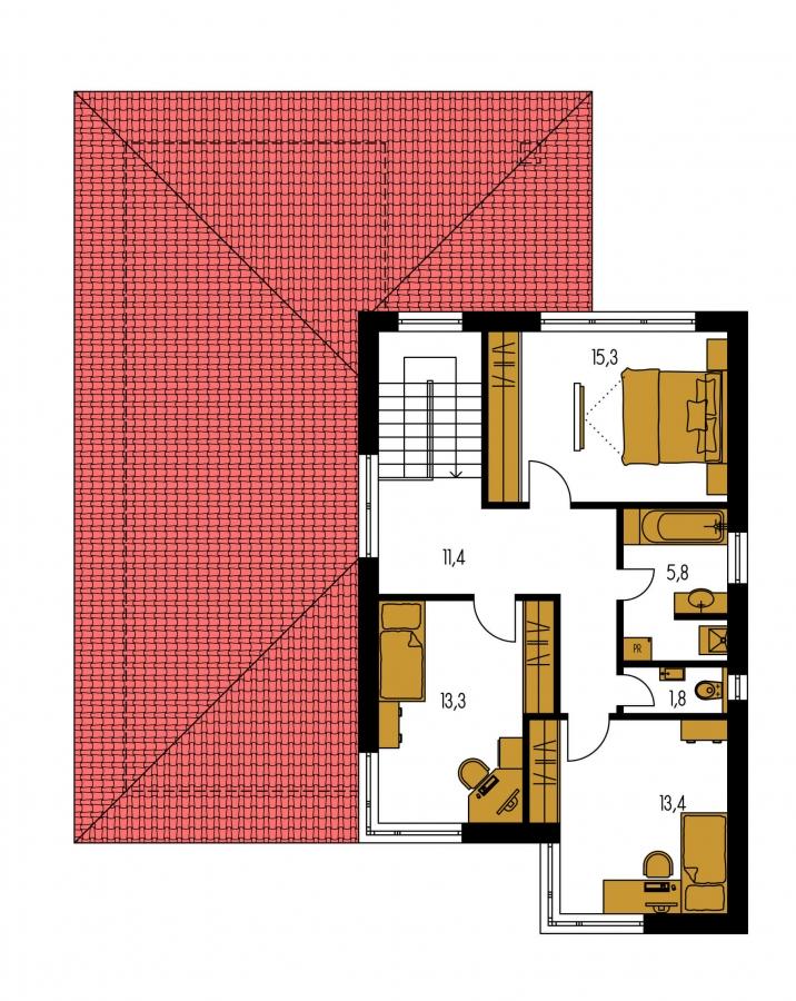 Pôdorys Poschodia - Moderný poschodový dom s garážou a izbou na prízemí.