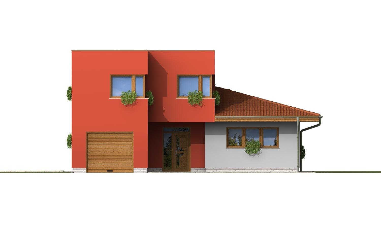 Pohľad 1. - Moderný poschodový dom s garážou a izbou na prízemí.