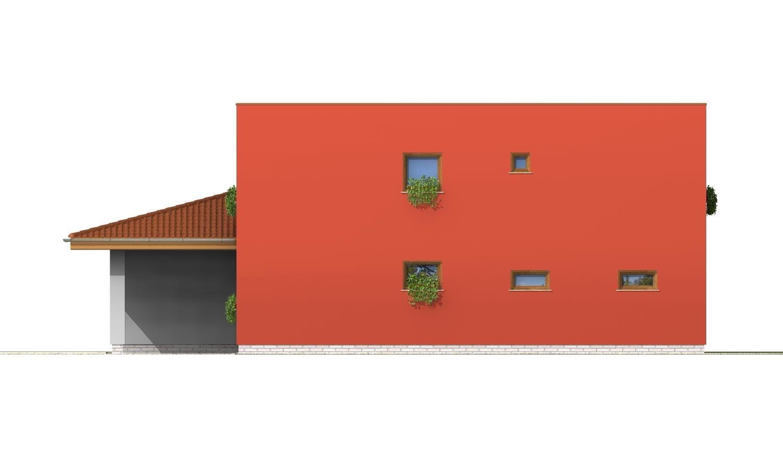 Pohľad 2. - Moderný poschodový dom s garážou a izbou na prízemí.