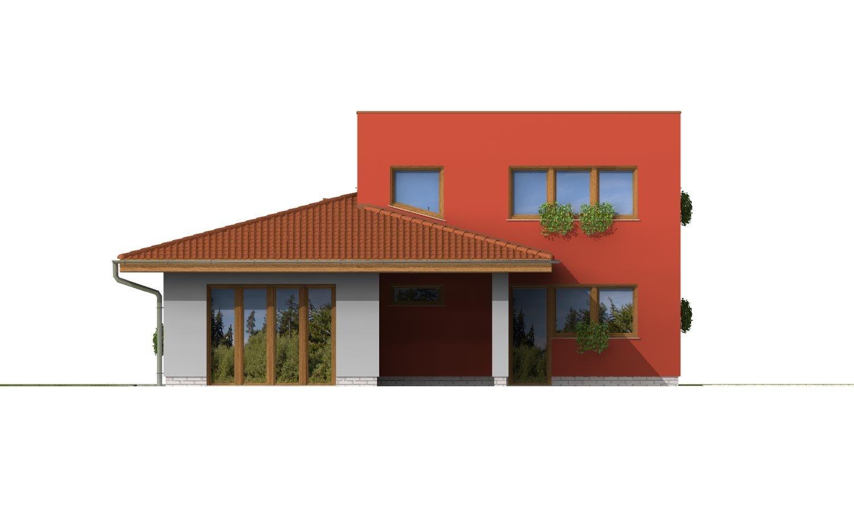 Pohľad 3. - Moderný poschodový dom s garážou a izbou na prízemí.