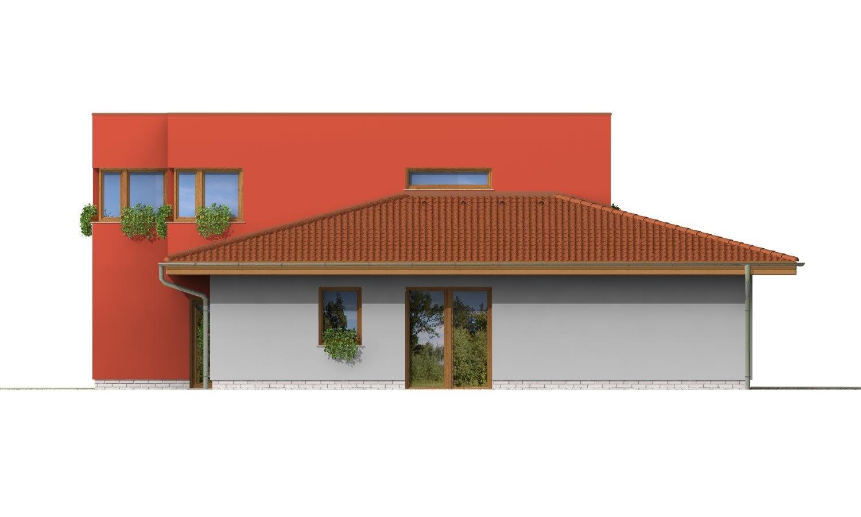 Pohľad 4. - Moderný poschodový dom s garážou a izbou na prízemí.