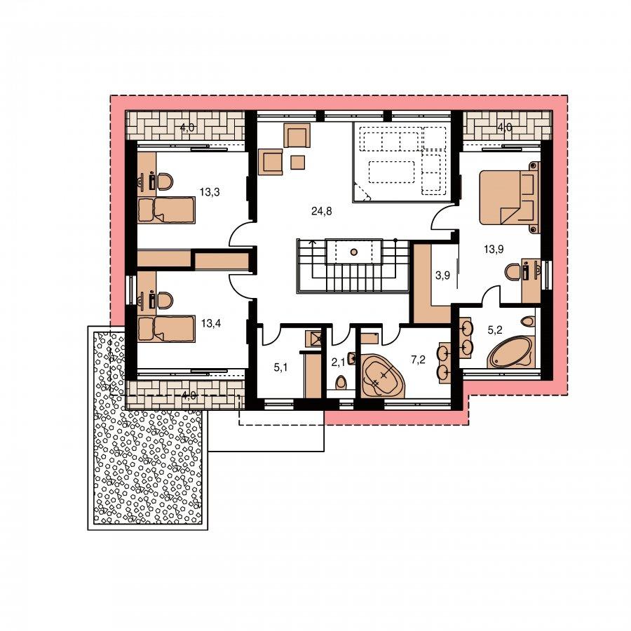 Pôdorys Poschodia - Veľký moderný rodinný dom