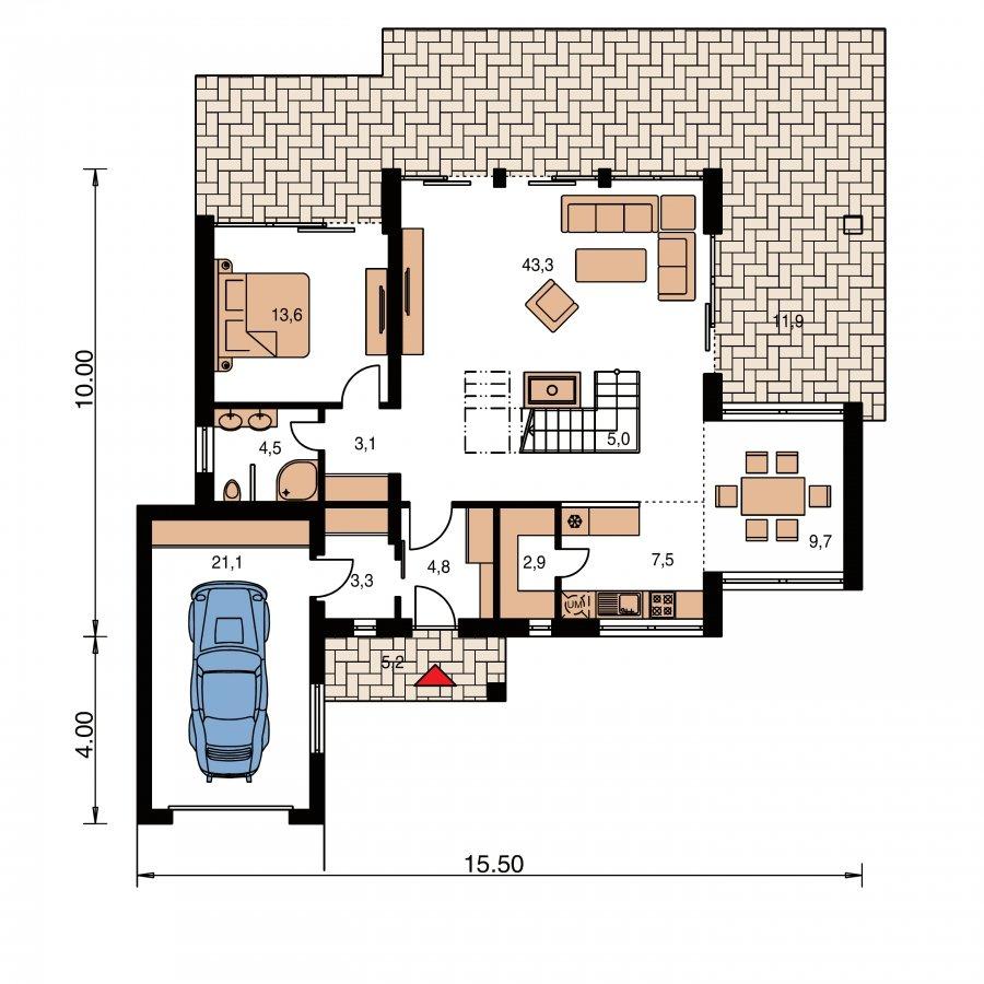 Pôdorys Prízemia - Veľký moderný rodinný dom.