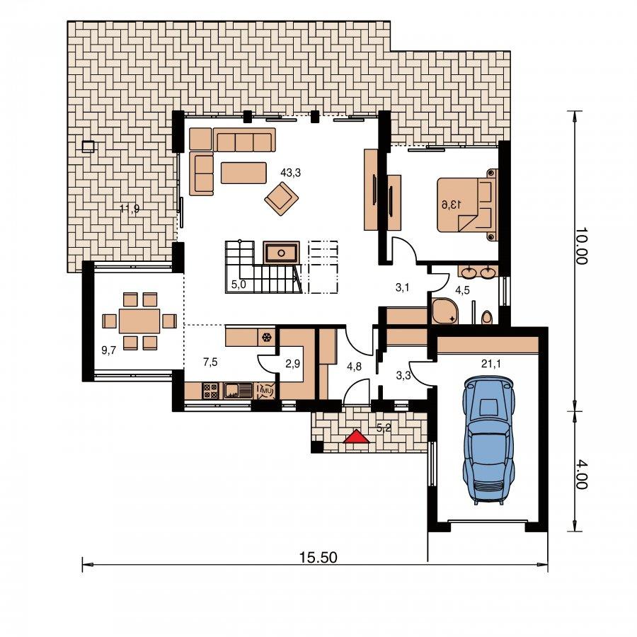 Pôdorys Prízemia - Veľký moderný rodinný dom
