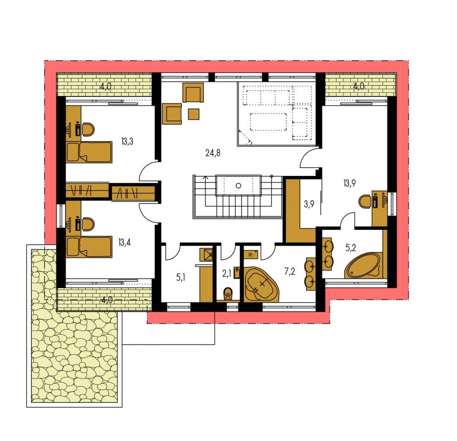 Pôdorys Poschodia - Veľký moderný rodinný dom.