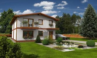 Dom na užší pozemok so sedlovou strechou.