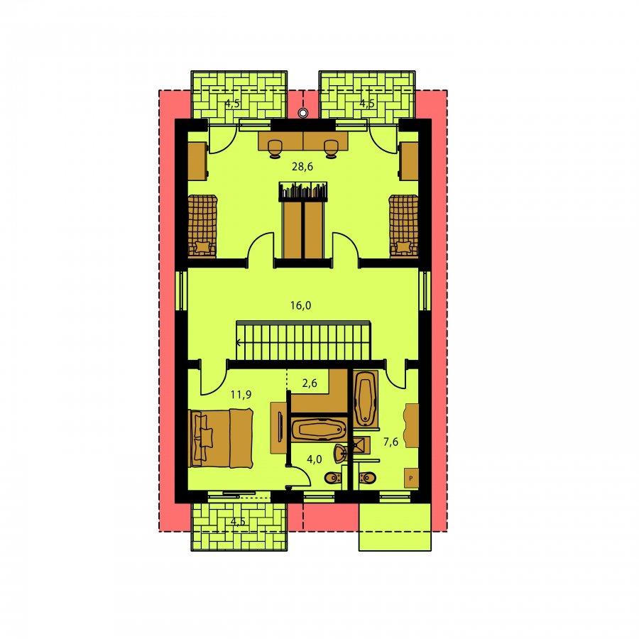 Pôdorys Poschodia - Dom na užší pozemok so sedlovou strechou