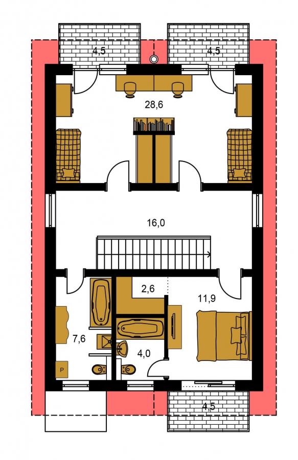 Pôdorys Poschodia - Dom na užší pozemok so sedlovou strechou.