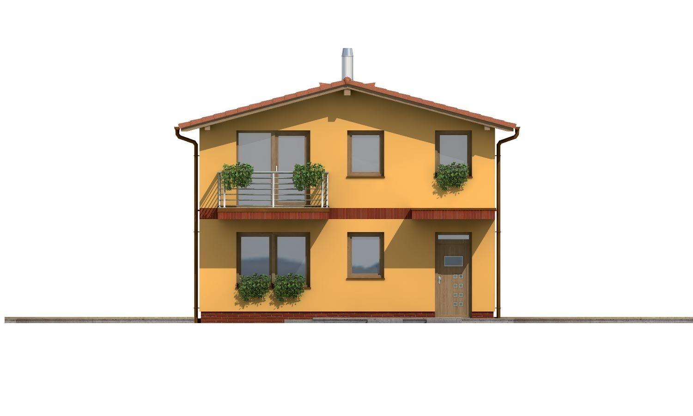 Pohľad 1. - Dom na užší pozemok so sedlovou strechou.