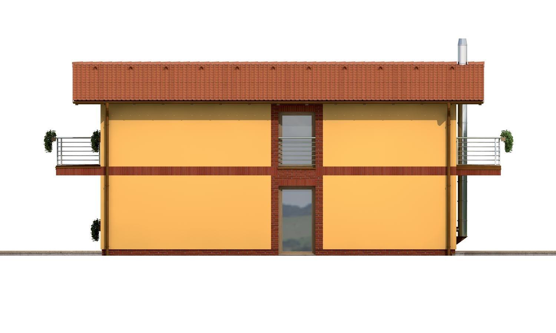 Pohľad 4. - Dom na užší pozemok so sedlovou strechou.