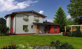 Moderný rodinný dom so sedlovými strechami.