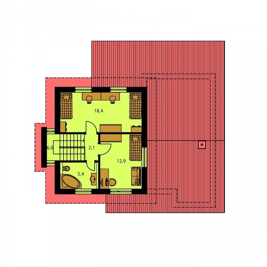 Pôdorys Poschodia - Moderný rodinný dom so sedlovými strechami