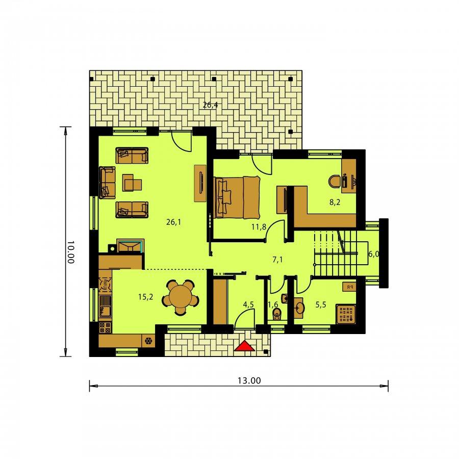 Pôdorys Prízemia - Moderný rodinný dom so sedlovými strechami