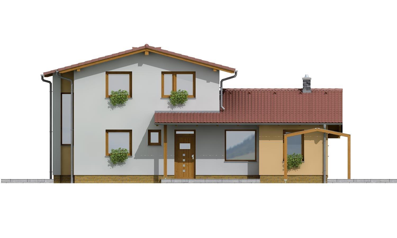 Pohľad 1. - Moderný rodinný dom so sedlovými strechami