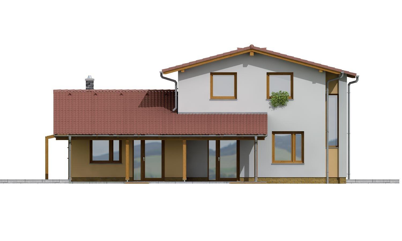 Pohľad 3. - Moderný rodinný dom so sedlovými strechami
