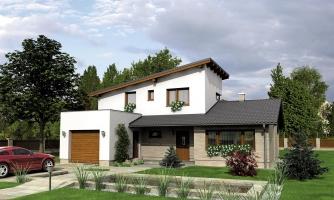 Projekt moderného domu s garážou a obytným podkrovím.