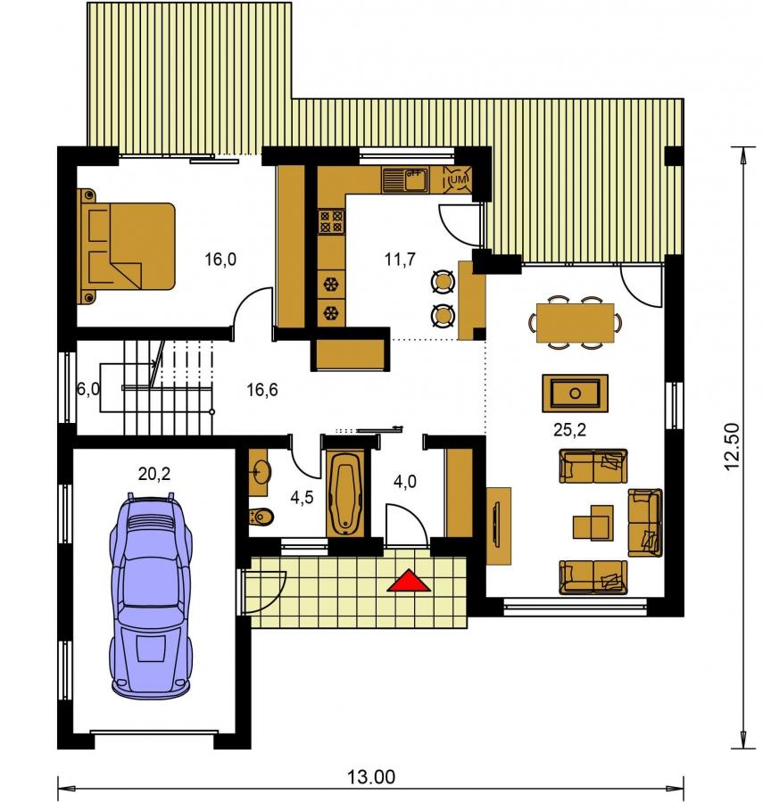 Pôdorys Prízemia - Projekt moderného domu s garážou a obytným podkrovím
