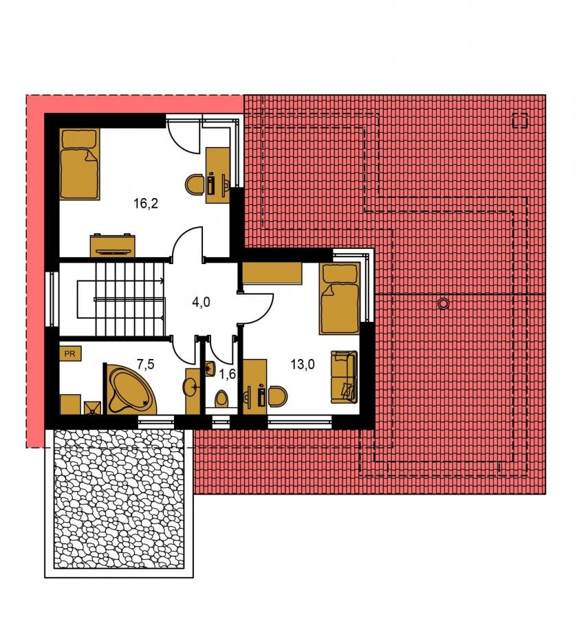 Pôdorys Poschodia - Projekt moderného domu s garážou a obytným podkrovím.