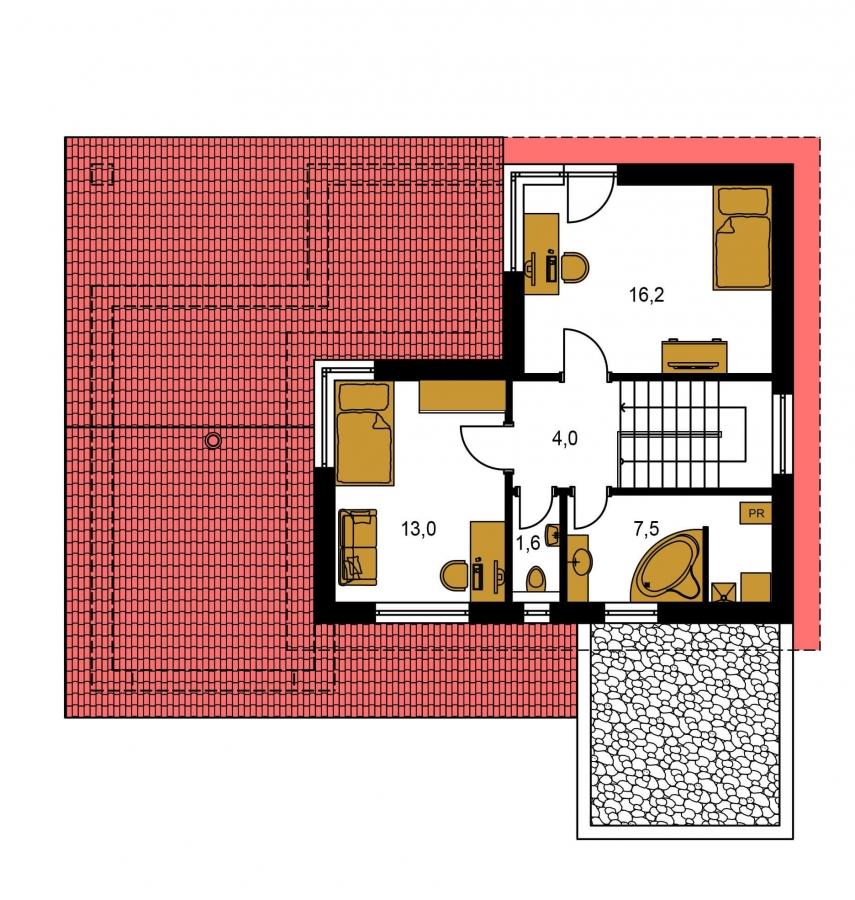 Pôdorys Poschodia - Projekt moderného domu s garážou a obytným podkrovím