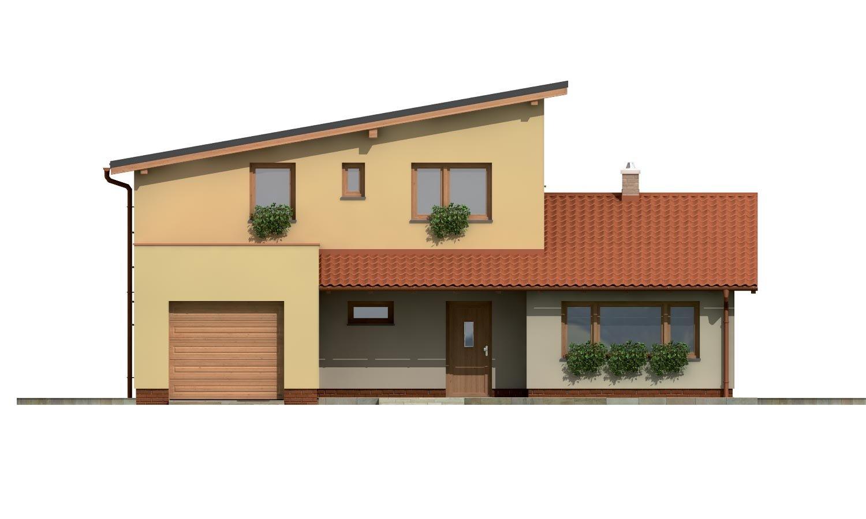 Pohľad 1. - Projekt moderného domu s garážou a obytným podkrovím.