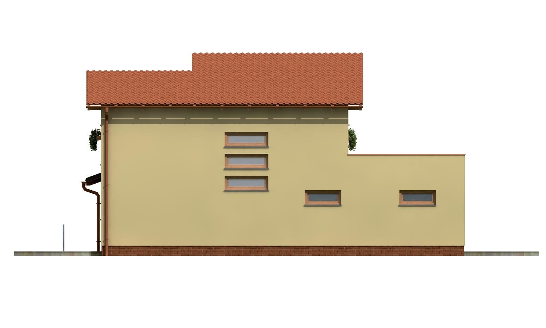 Pohľad 2. - Projekt moderného domu s garážou a obytným podkrovím.