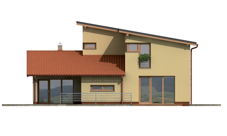Pohľad 3. - Projekt moderného domu s garážou a obytným podkrovím.