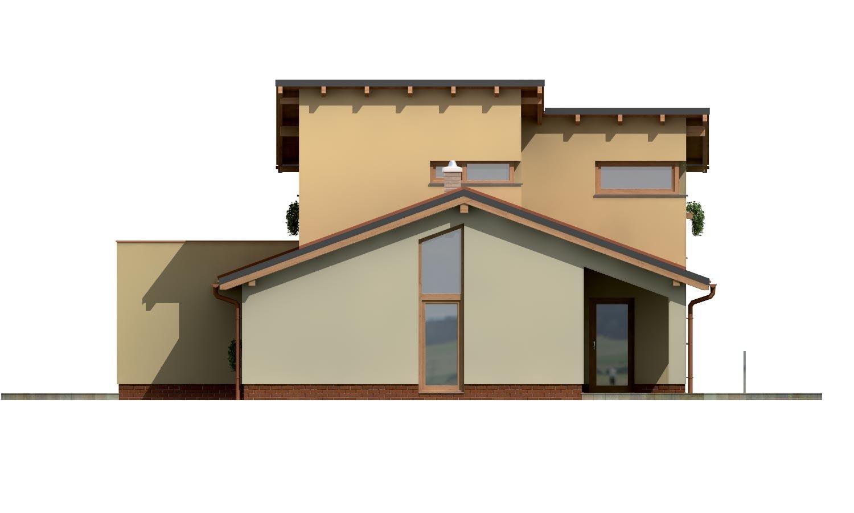 Pohľad 4. - Projekt moderného domu s garážou a obytným podkrovím.