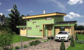 Moderný dom s garážou a pultovými strechami.