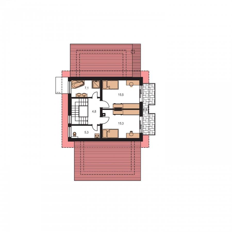 Pôdorys Poschodia - Moderný dom s garážou a pultovými strechami