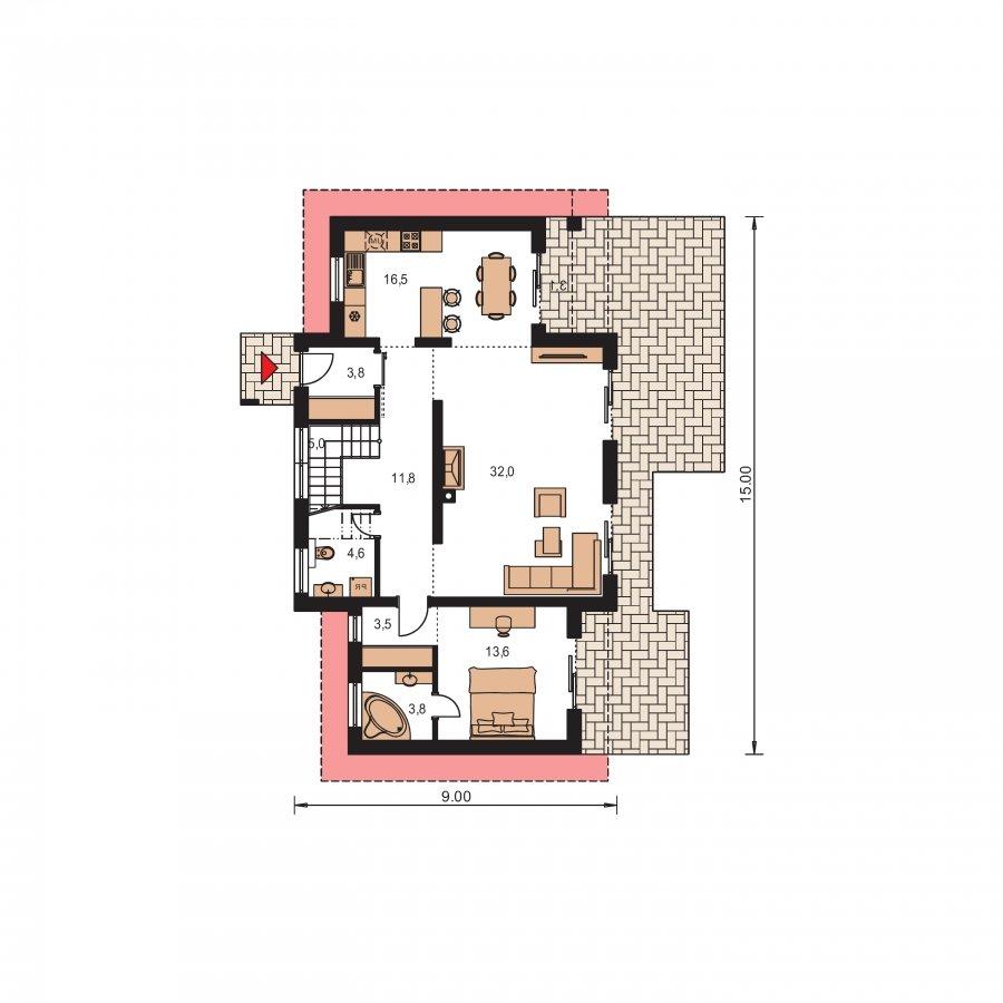 Pôdorys Prízemia - Moderný dom s garážou a pultovými strechami