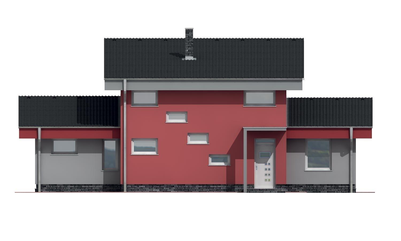 Pohľad 1. - Moderný dom s garážou a pultovými strechami