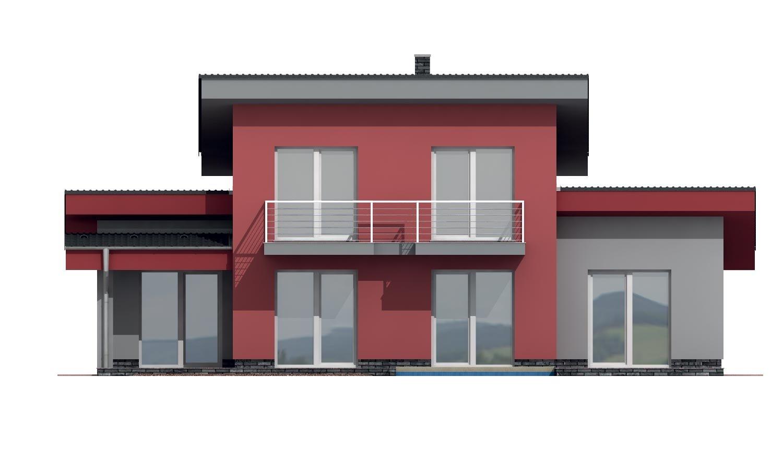 Pohľad 3. - Moderný dom s garážou a pultovými strechami